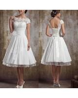 къса сватбена рокля с дантела в ретро стил