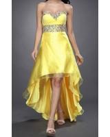 красива вечерна рокля в слънчогледово жълто с кристали за куми и абитуриентки