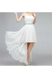 евтина висококачествена булчинска официална рокля със сияещо коланче и изчистен дизайн