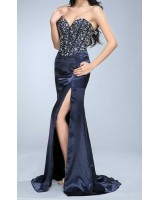 вечерна рокля тип корсет в индиго с множество кристали