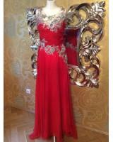 луксозна официална рокля с полугол гръб и орнаментация в 3 гами