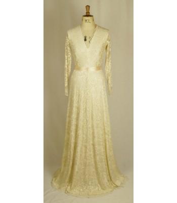 луксозна рокля обсипана с дантела в шампанско мини и макси размери