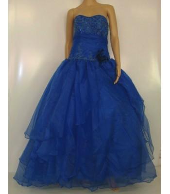 обемна бална рокля в кралско синьо с бродерия