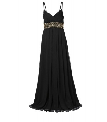 маркова официална рокля със златиста декорация
