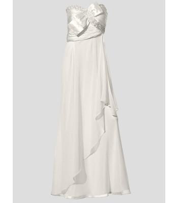 права ултра сияеща маркова рокля в слонова кост с декоративни камъни