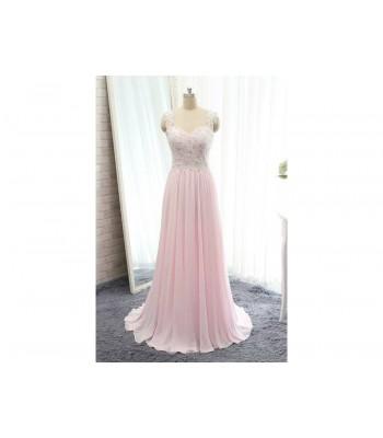 розова бална рокля с дантела Благоевград 2020