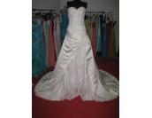 дамска сватбена рокля микс от сатен и дантела