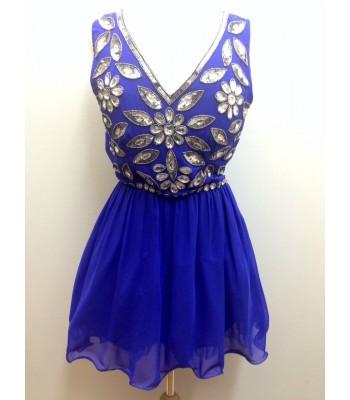 къса бална рокля обсипана с кристали в кралско синьо