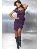 лилава ежедневна рокля с метални обшивки