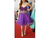 ултра луксозна наситено лилава къса рокля обсипана с кристали