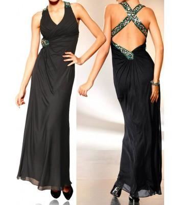 маркова бална рокля с кристали и гол гръб