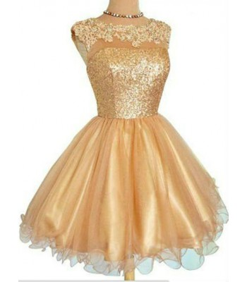 кокетна бална рокля с пайети и дантела в златисто