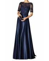 вечерна рокля с дантелени ръкави за кума или майка на булката