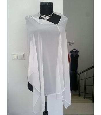 сватбен официален елегантен шал с обшивка от бели мъниста