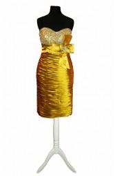 къса вечерна бална рокля в злато