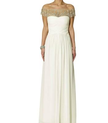 бална сватбена рокля в крем с паднали рамене лимитирана серия