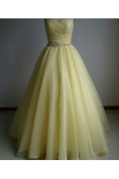 абитуриентска рокля тип корсет в слънчогледово жълто