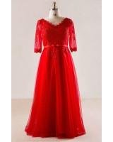луксозна официална рокля в микс от дантела и тюл макси мода