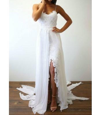 лятна сватбена рокля с тънки презрамки и дантела
