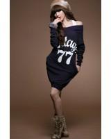 спортна топла рокля суитшърт блузон в синьо S/M